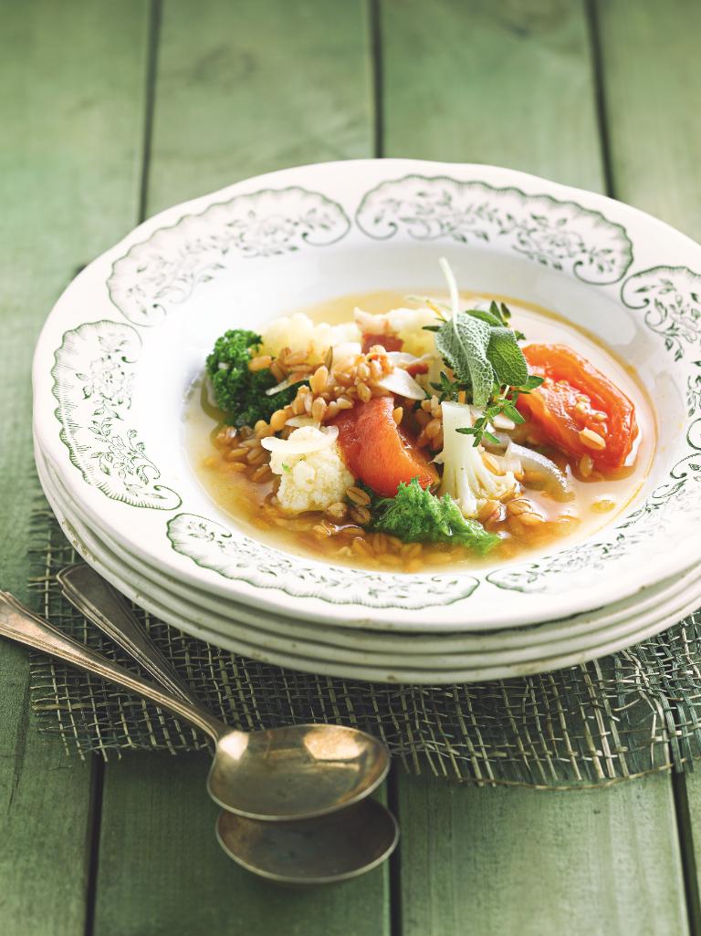 Maaltijdsoep met spelt en pancetta