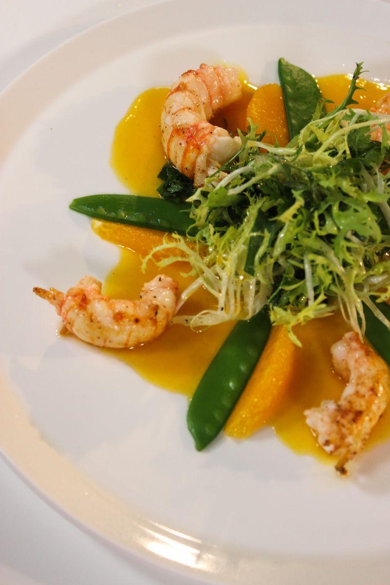 Salade met langoustines en sinaasappel
