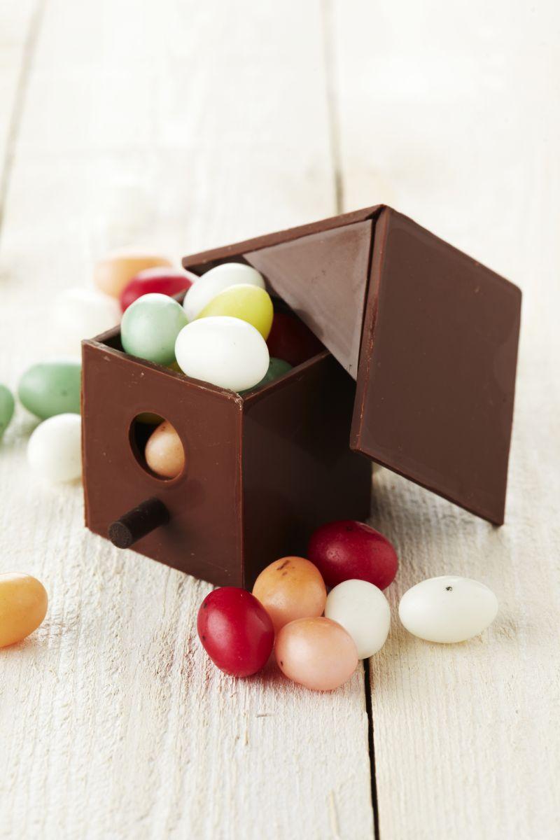 Vogelhuisje van chocolade