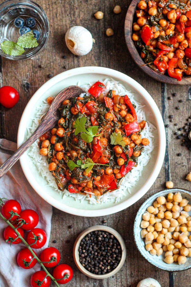 Kikkererwtencurry met spinazie en tomaat