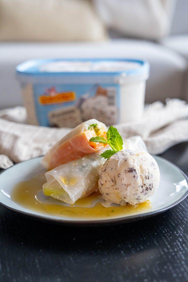 Lenterolletjes met exotisch fruit en stracciatella-ijs