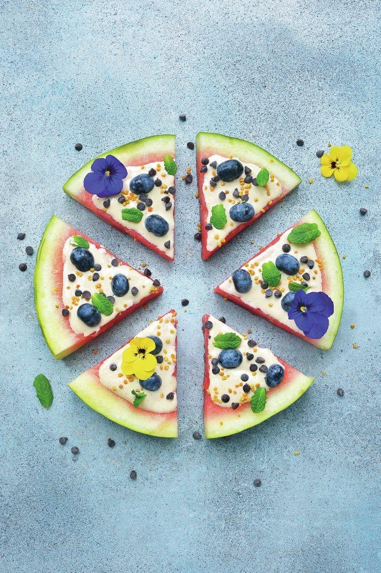 Meloenpizza met zoete cashewroom