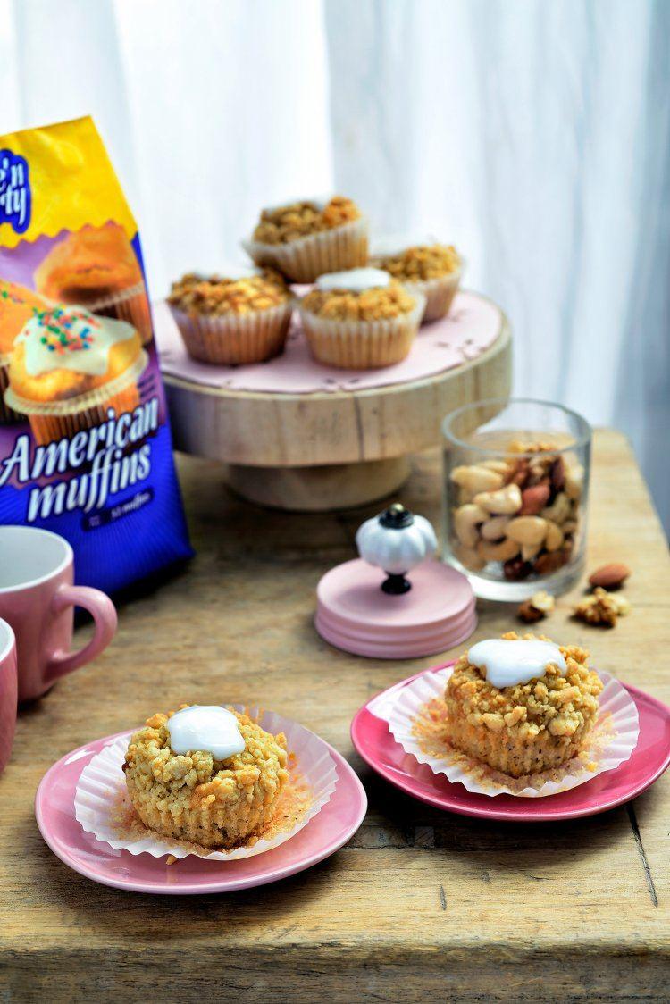 Appel-kruimel muffins met nootjes