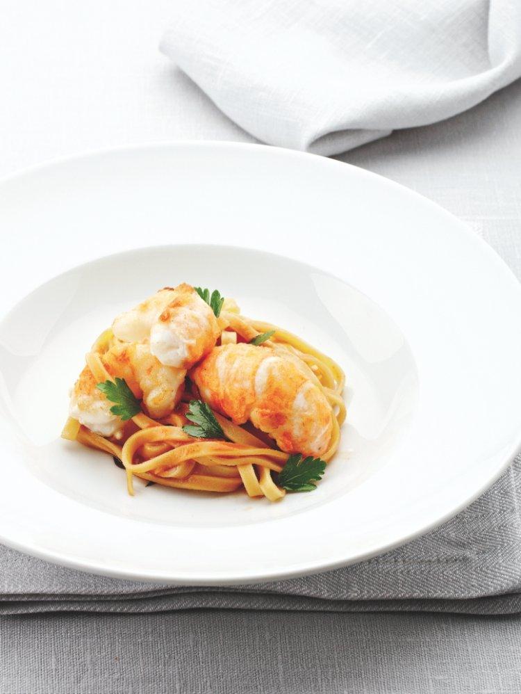 Gebakken langoustines met pasta