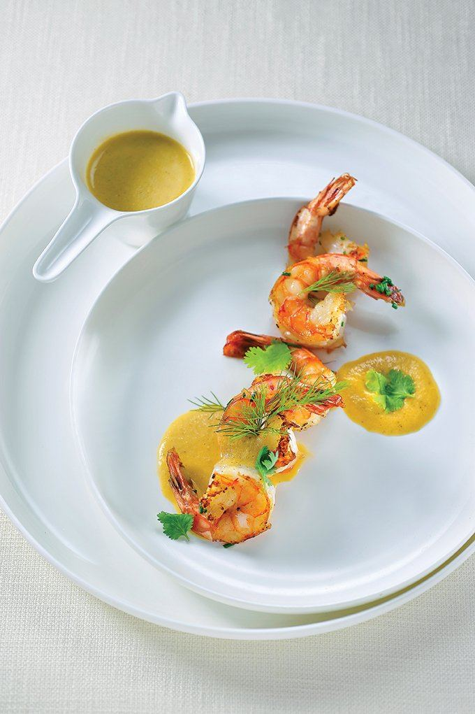 Scampi in Thaise curry met appeltjes