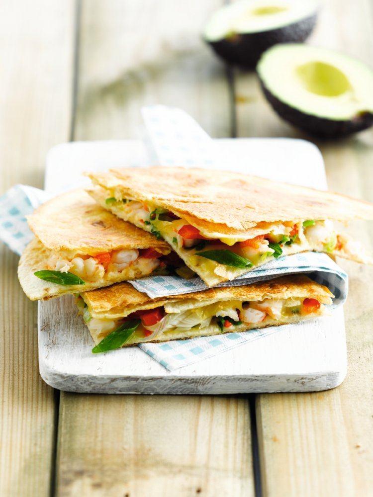 Hot tortillaflapjes met scampi
