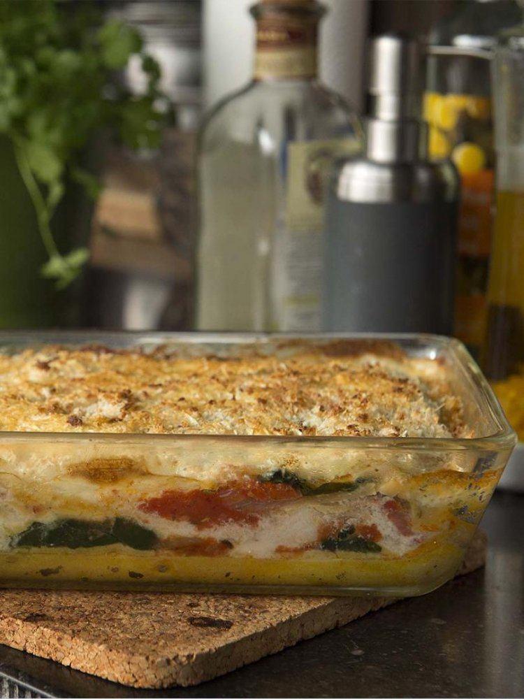 Lasagne van vlaswijting, tomaat en spinazie