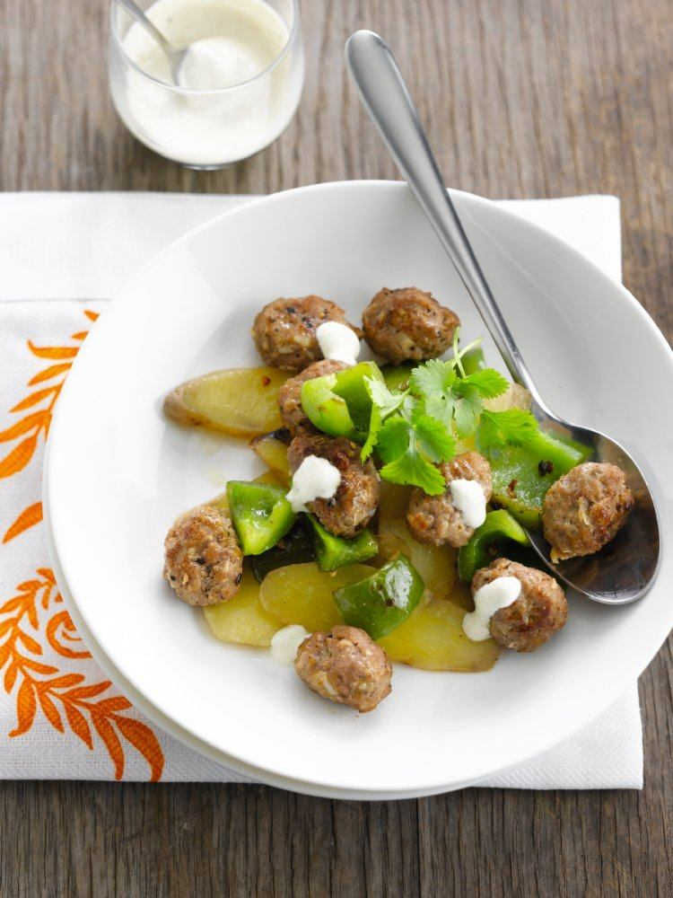 Aardappelsalade met lamsballetjes