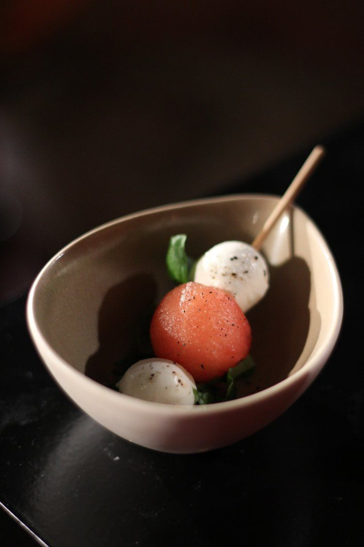 Watermeloen-mozzarelaprikkers