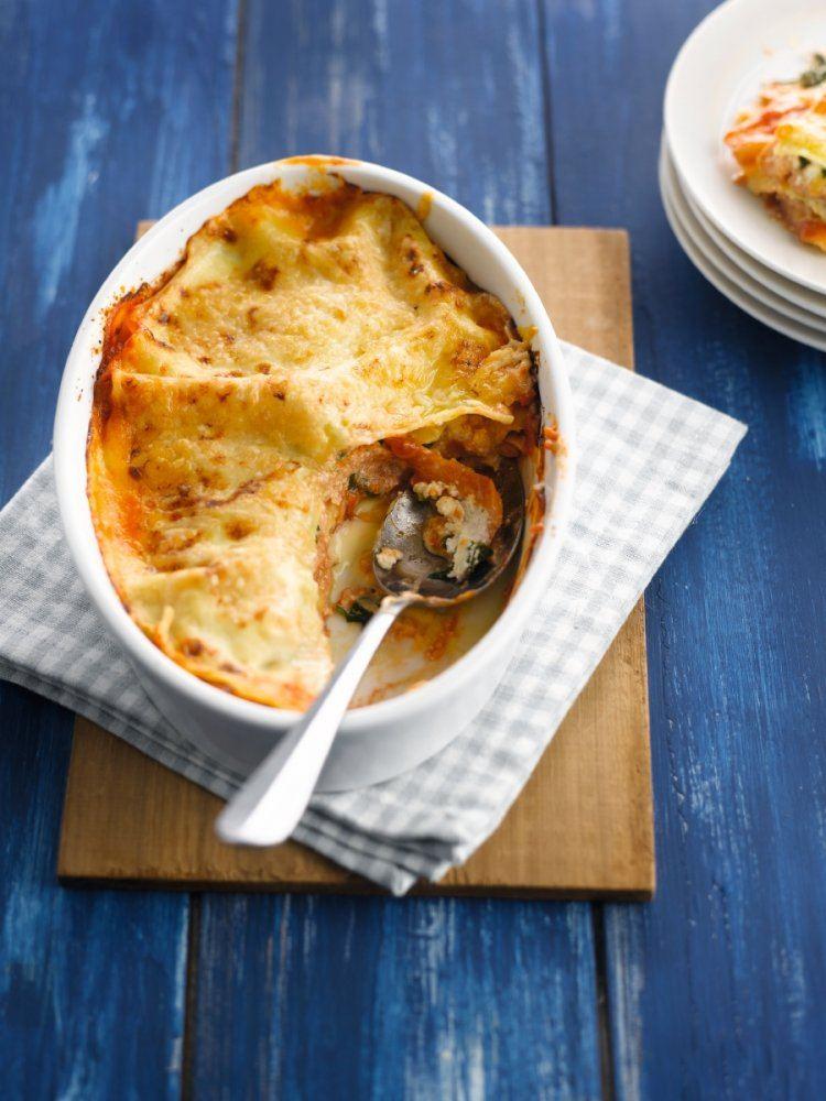 Lasagne met zalm, spinazie en ricotta