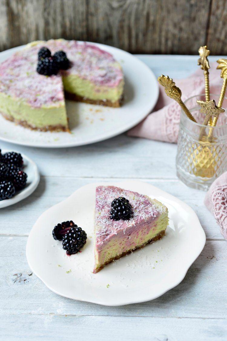 Vegan cheesecake met limoen en braambessen