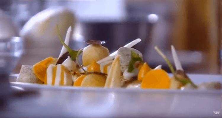 Noordzeetong met soufflé van truffel en puree van pompoen en schorseneren