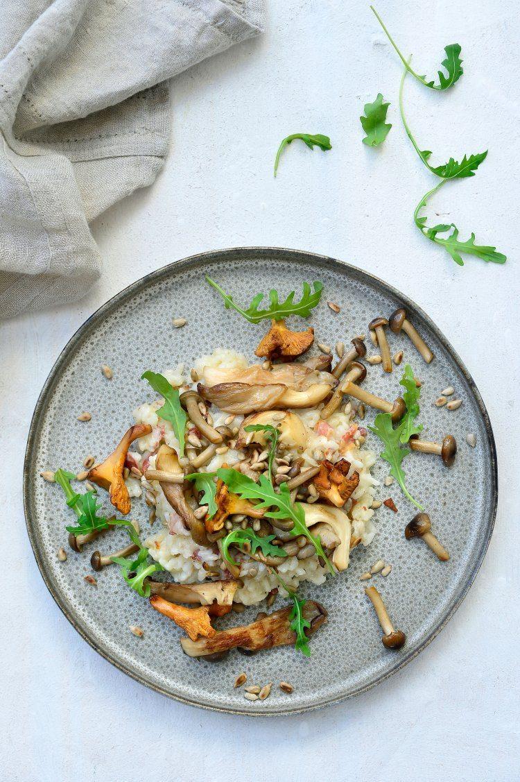 Risotto met champignons, pastinaak en pancetta