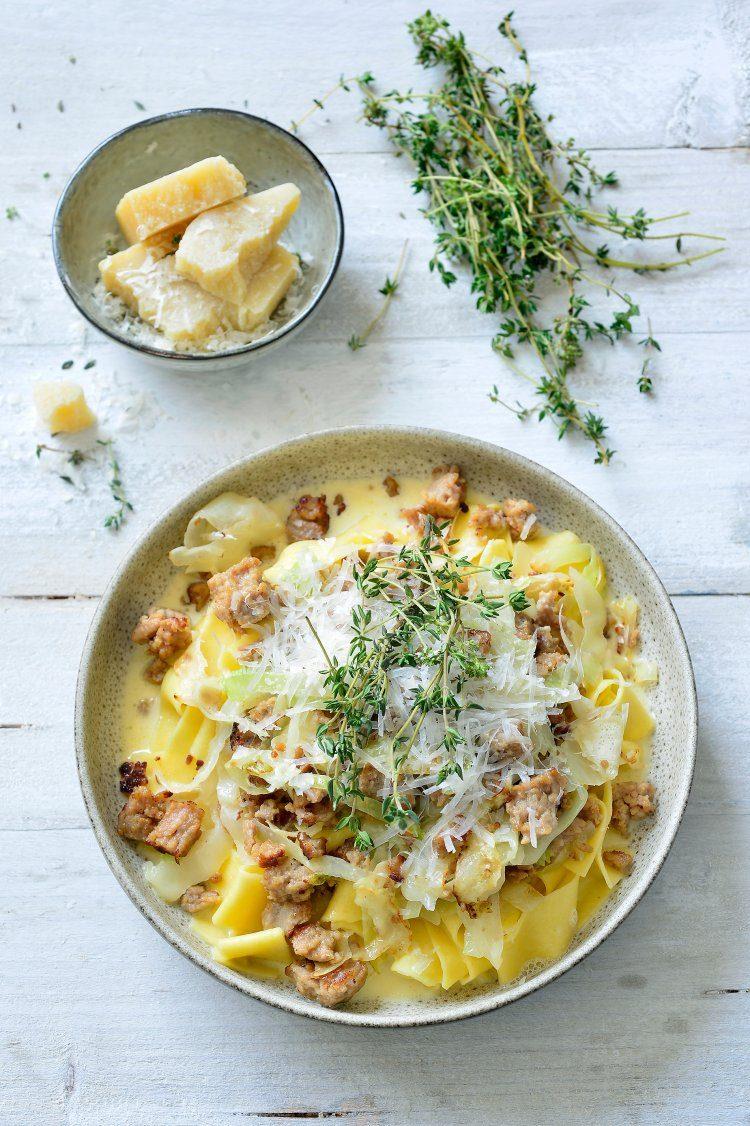 Pasta met witte kool en gehakt