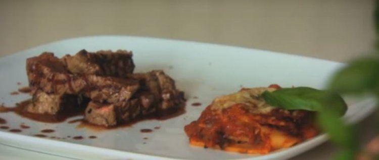 Lasagne legumi met tagliata van rundsvlees