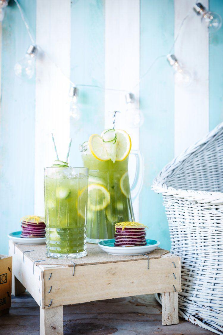 Cucumber lemonade & Millefeuille van biet en comté